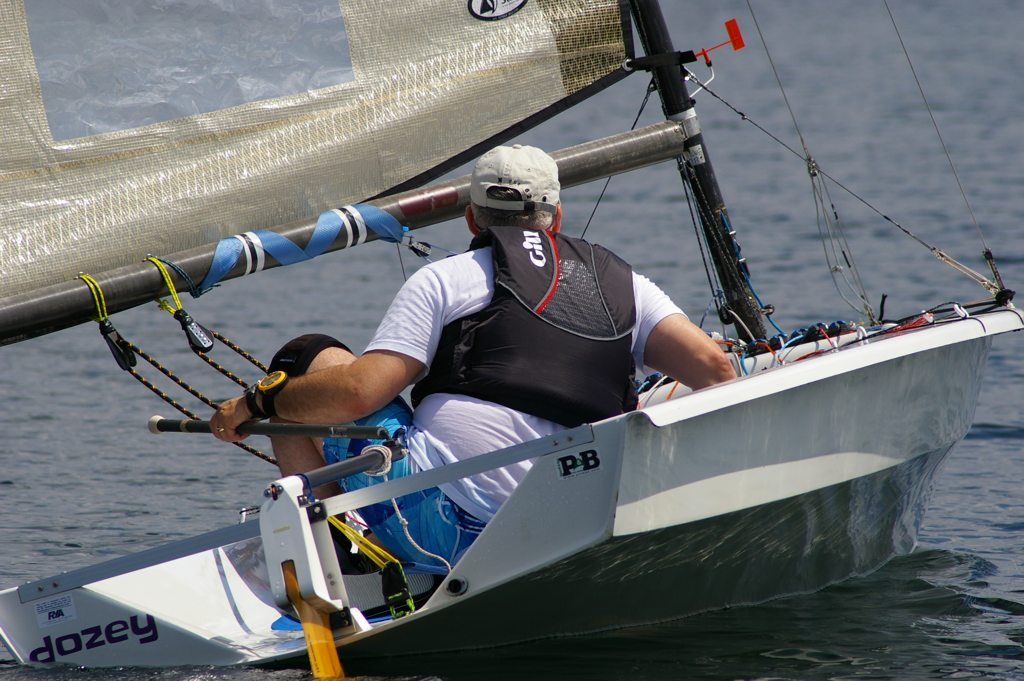 Mike Said squashed in the middle on a light airs leg at the IBRSC Phantom Open