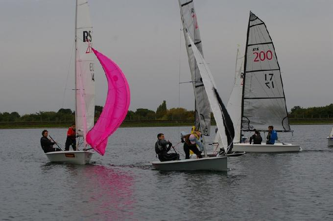 David Jessop and Clare Michelmore lead Clare James and Lucy Gibson at the windward mark RS200 Inlands IBRSC (c) Jim Champ