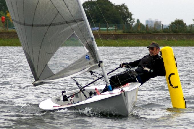 Event winner Gareth Griffiths rounds the Leeward Mark at the Island Barn Reservoir Solo Open Meeting
