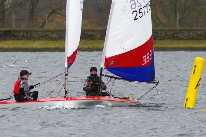 Wrapped Up Warm - Aaron Evans and Alfie Lester at the Island Barn Reservoir Topper Winter Open (c) Jim Champ