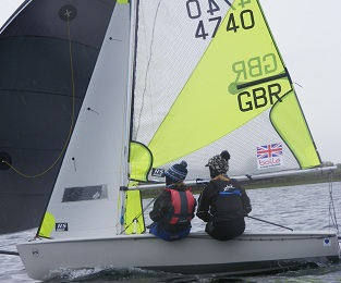 Jess and Hattie sailing an RS Feva