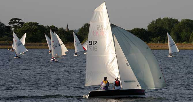 RS400 and Laser Fleet at Island Barn Reservoir Sailing Club