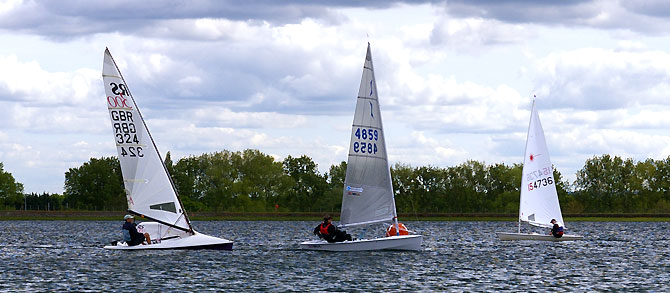 RS300 and Solo racing at Island Barn Reservoir Sailing Club