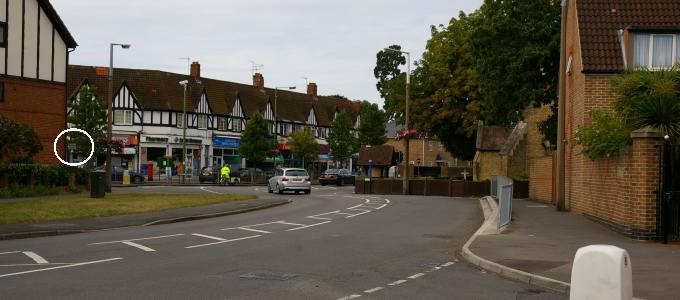 Photo: Molesey High Street Junction from the east, and a very discreet sign to the sailing club
