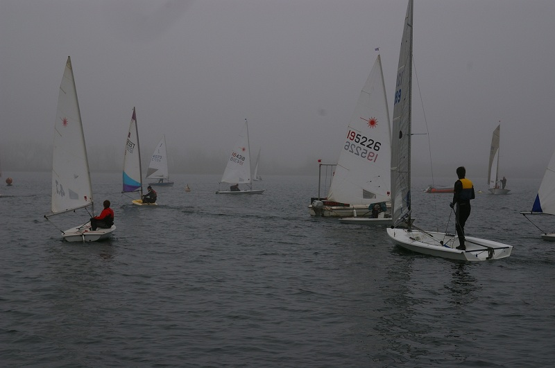 Photo: more dinghies in the mist