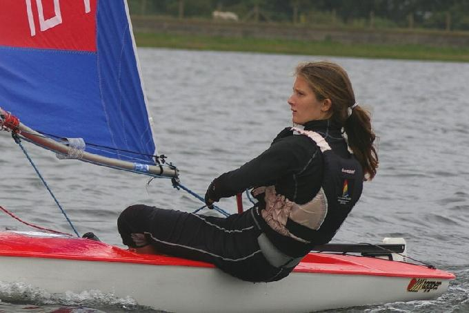 Nancy sailing at the recent IBRSC Topper Open